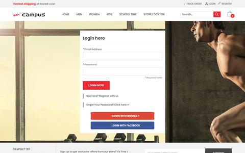 Screenshot of Login Page campusshoes.com - Customer Login - captured Oct. 1, 2018