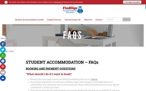 Screenshot of FAQ Page finddigs.co.uk - Student accommodation in London with Find Digs - Perfect rooms for university students, close your college.Find Digs - captured Oct. 10, 2018