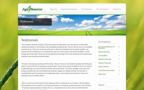 Screenshot of Testimonials Page ag1source.com - Ag Employer Testimonials | Hear Success Stories from Our Past Ag Clients - captured May 29, 2017