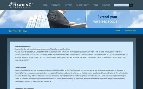 Screenshot of Terms Page hawkingtech.com - Terms Of Use - Hawking Technology - captured Sept. 27, 2018