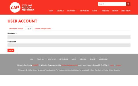 Screenshot of Login Page can.org.nz - User account | Cycling Action Network NZ - captured Oct. 16, 2016