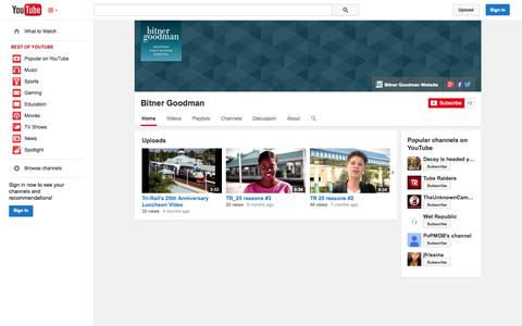 Screenshot of YouTube Page youtube.com - Bitner Goodman  - YouTube - captured Oct. 23, 2014