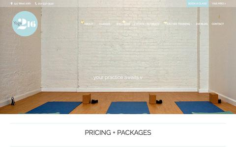 Screenshot of Pricing Page yoga216.com - Pricing + Packages – Yoga 216 - captured June 19, 2017
