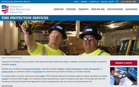 Screenshot of Services Page afpgusa.com - Fire Protection Services | American Fire Protection Group - captured March 31, 2016