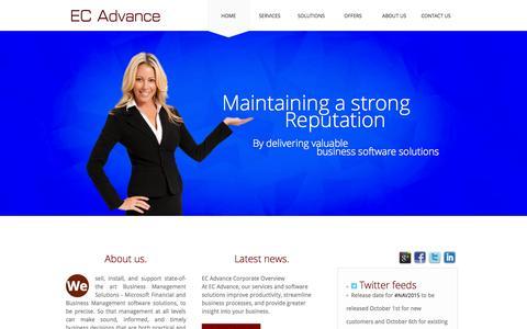 Screenshot of Home Page ecadvance.com - EC Advance - captured Oct. 1, 2014