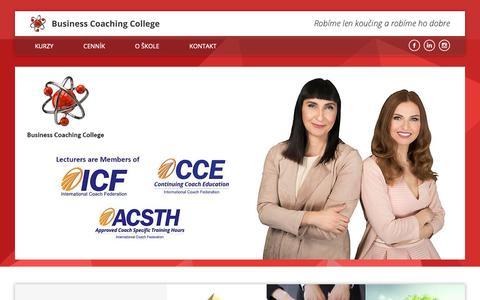 Screenshot of Home Page koucovaciaskola.sk - Business Coaching College | Business Coaching College - captured Oct. 7, 2018