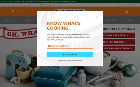 Screenshot of Home Page lecreuset.com - Cookware, Bakeware, Pots, Pans, Kitchen & Bar Tools | Le Creuset - captured Dec. 8, 2015