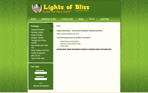 Screenshot of Terms Page lightsofbliss.com - Legal Information - Terms and Conditions, Policies and More | Candles with Moral Scents™ - captured Sept. 28, 2018