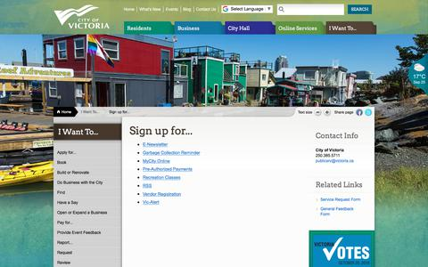 Screenshot of Signup Page victoria.ca - Sign up for... | Victoria - captured Sept. 25, 2018