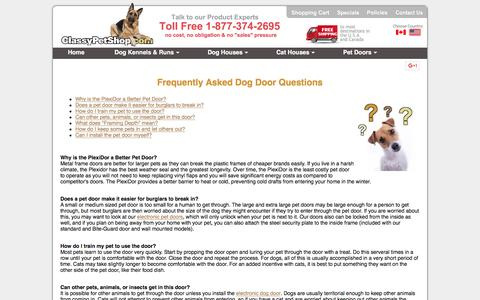 Screenshot of FAQ Page classypetshop.com - Dog Door Frequently Asked Questions - captured Feb. 27, 2016