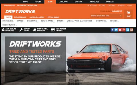 Screenshot of Home Page driftworks.com - Driftworks, Drift performance parts direct to your door - captured Oct. 1, 2015
