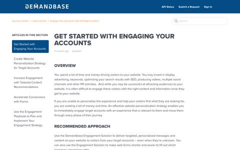 Screenshot of Support Page demandbase.com - Get Started with Engaging Your Accounts – Success Center - captured Nov. 6, 2019