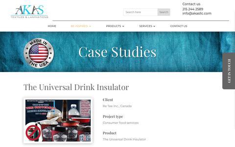 Screenshot of Case Studies Page akastex.com - The Universal Drink Insulator - AKAS Tex - Fiber to Fabric Solutions - captured Dec. 17, 2018