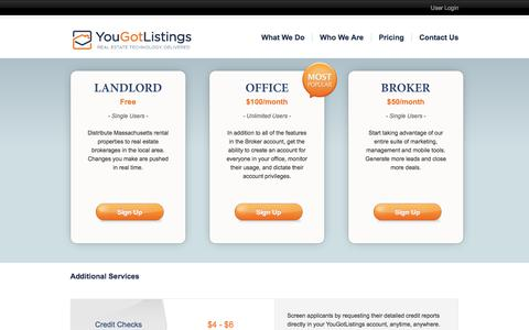 Screenshot of Pricing Page yougotlistings.com - You Got Listings - captured June 21, 2017