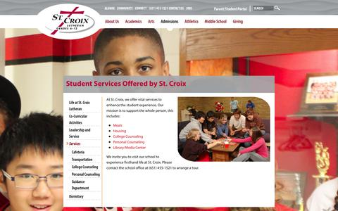 Screenshot of Services Page stcroixlutheran.org - St Croix Lutheran | Student Services | Meals | Housing | Counseling - captured Jan. 12, 2016