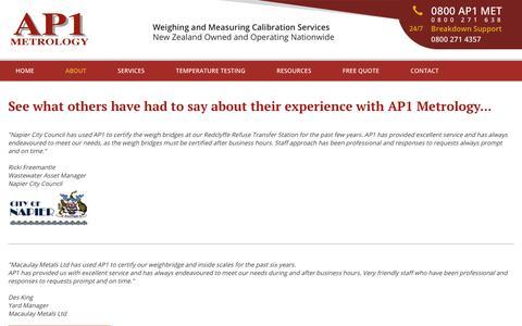 Screenshot of Testimonials Page ap1.co.nz - Weighbridge testing NZ, Scale calibration Auckland Wellington - captured June 30, 2018