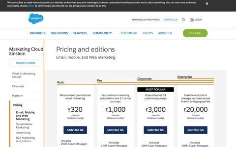 Screenshot of Pricing Page salesforce.com - Email, Mobile, and Web Marketing Pricing | Salesforce Marketing Cloud - Salesforce UK - captured April 7, 2017