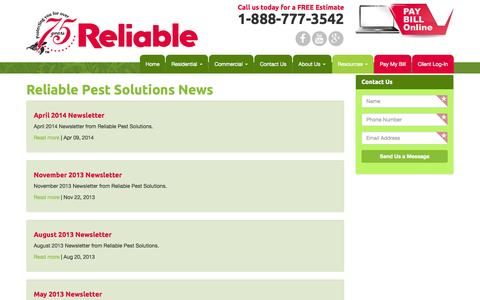 Screenshot of Press Page reliablepestsolutions.com - Reliable Pest Solutions News - Reliable Pest Solutions - captured Aug. 2, 2015