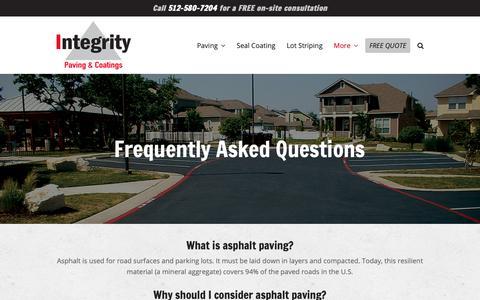 Screenshot of FAQ Page integritypavingtexas.com - Asphalt Questions | Paving, Repairs, Parking Lot Striping, Seal Coating - captured Oct. 12, 2018