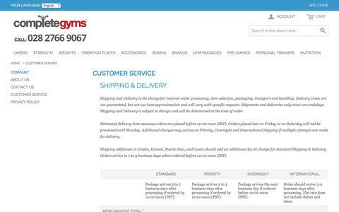 Screenshot of Support Page completegyms.com - Customer Service - captured Dec. 10, 2015