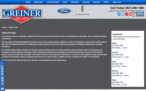 Screenshot of Terms Page greinerford.com - Greiner Ford Lincoln Terms / Policies - captured Oct. 3, 2014