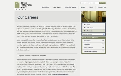 Screenshot of Jobs Page bpmlaw.com - Betts, Patterson & Mines, P.S. Careers - captured Oct. 5, 2014