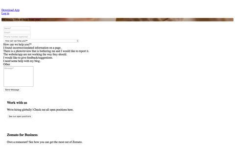 Screenshot of Contact Page zomato.com - Contact Us   Zomato - captured Oct. 18, 2016