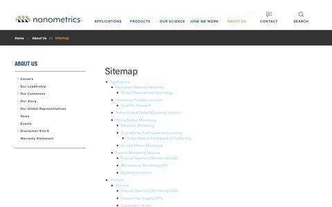 Screenshot of Site Map Page nanometrics.ca - Sitemap | Nanometrics - captured Oct. 20, 2018