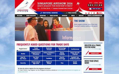 Screenshot of FAQ Page singaporeairshow.com - Singapore Airshow 2016 - FAQ - captured Sept. 29, 2014