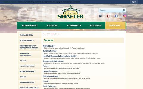 Screenshot of Services Page shafter.com - Services   Shafter CA - Official Website - captured Dec. 14, 2018