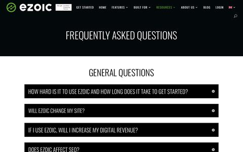 Screenshot of FAQ Page ezoic.com - Frequently Asked Questions | Ezoic - captured Aug. 12, 2019