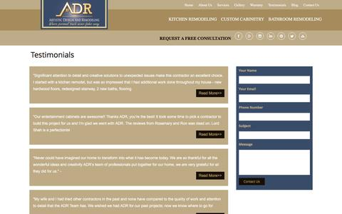 Screenshot of Testimonials Page artisticdesignandremodeling.com - Testimonials - captured July 26, 2016