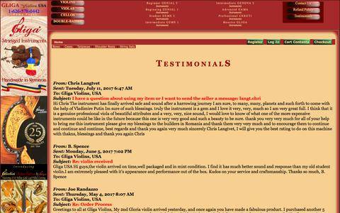 Screenshot of Testimonials Page violinslover.com - Violin, Viola and Cello Testimonials - captured June 30, 2018