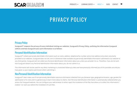 Screenshot of Privacy Page scarguard.com - Privacy Policy | Scarguard for Scars, Scarring and  Bruises - captured Nov. 19, 2016