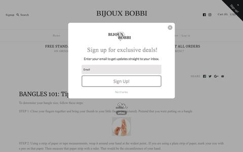 Screenshot of About Page Privacy Page bijouxbobbi.com - Bangle Sizing Chart – Bijoux Bobbi - captured July 8, 2018