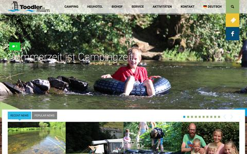 Screenshot of Home Page camping-toodlermillen.lu - Camping Toodlermillen Luxemburg, Ardennen - Willkommen bei Camping Toodlermillen im Herzen der Luxemburger Ardennen Eifel «  Camping Toodlermillen - captured June 24, 2018