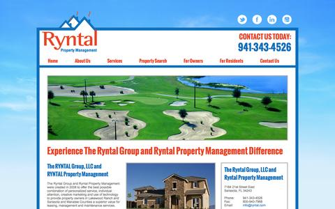 Screenshot of Home Page ryntal.com - The RYNTAL GROUP, LLC and Ryntal Property Management - captured Oct. 6, 2014