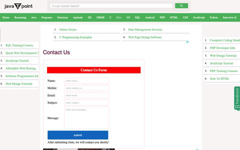 Screenshot of Contact Page javatpoint.com - Contact Us  - javatpoint - captured Dec. 11, 2018