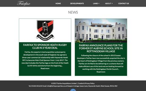 Screenshot of Press Page fairfaxproperties.co.uk - News - Fairfax Acquisitions Limited - captured June 5, 2017