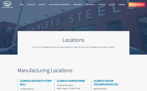 Screenshot of Locations Page ulbrich.com - Ulbrich Locations | Stainless Steel Strip | Ulbrich - captured Oct. 26, 2017