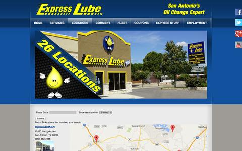 Screenshot of Locations Page expresslube.com - Express Lube Locations | San Antonio and New Braunfels, TX - captured Oct. 3, 2014