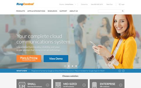 Screenshot of Home Page ringcentral.com - RingCentral | Phone System, VoIP, Cloud PBX, 800 Numbers - captured Nov. 24, 2015