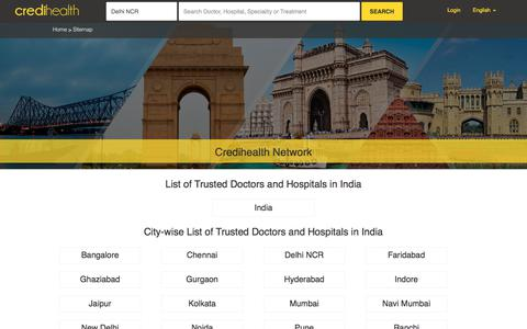Screenshot of Site Map Page credihealth.com - Top Doctors and Hospitals in India | Credihealth - captured June 2, 2017