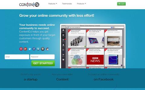 Screenshot of Home Page contentdj.com - Social Media Editorial Calendar with Content Recommendations | ContentDJ - captured Jan. 14, 2015