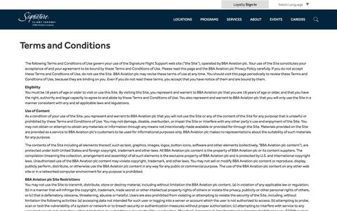 Screenshot of Terms Page signatureflight.com - Signature Flight Support   Website Terms and Conditions - captured Feb. 18, 2018