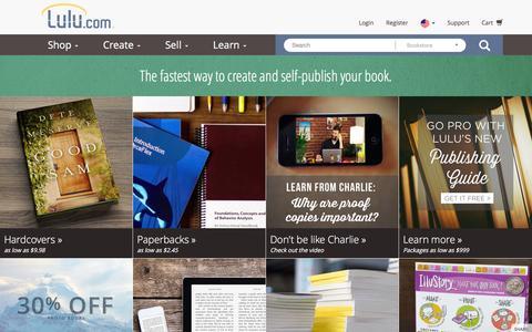 Screenshot of Home Page lulu.com - Lulu - Online Self Publishing Book & eBook Company - captured Feb. 24, 2016
