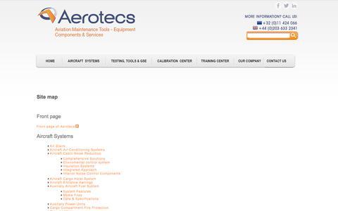 Screenshot of Site Map Page aerotecs.com - Site map | Aerotecs - captured Oct. 4, 2014