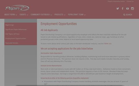 Screenshot of Jobs Page pepindistributing.com - Employment Opportunities - Pepin Distributing - captured Nov. 10, 2018