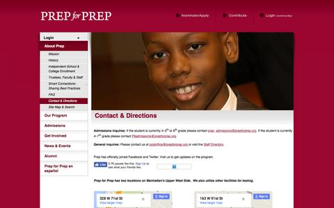 Screenshot of Contact Page prepforprep.org - Prep for Prep ~ Contact & Directions - captured July 15, 2016