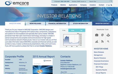 Investor Relations - Emcore
